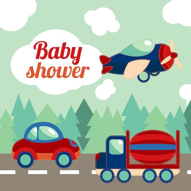 ベビーシャワーのおもちゃ輸送カード 無料ベクター