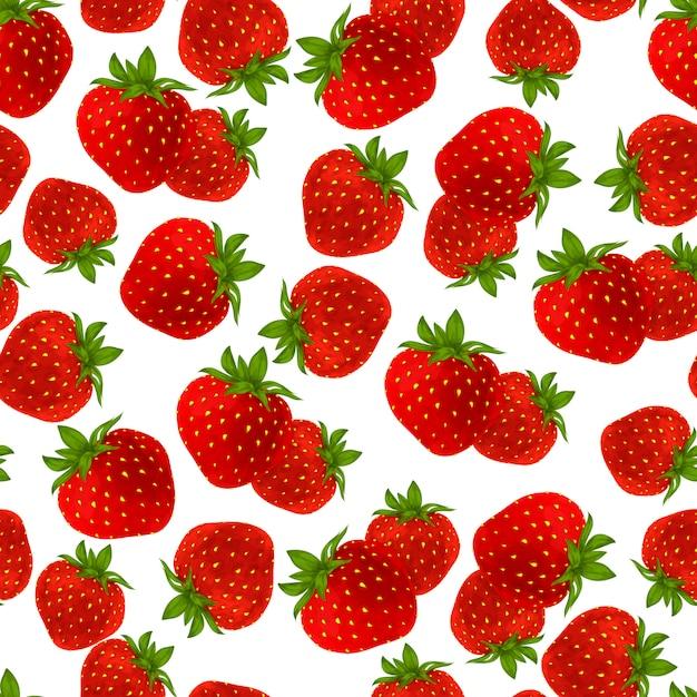 イチゴのシームレスパターン 無料ベクター