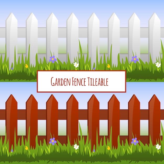Садовые ограждения бесшовные модели, карикатура иллюстрации Бесплатные векторы
