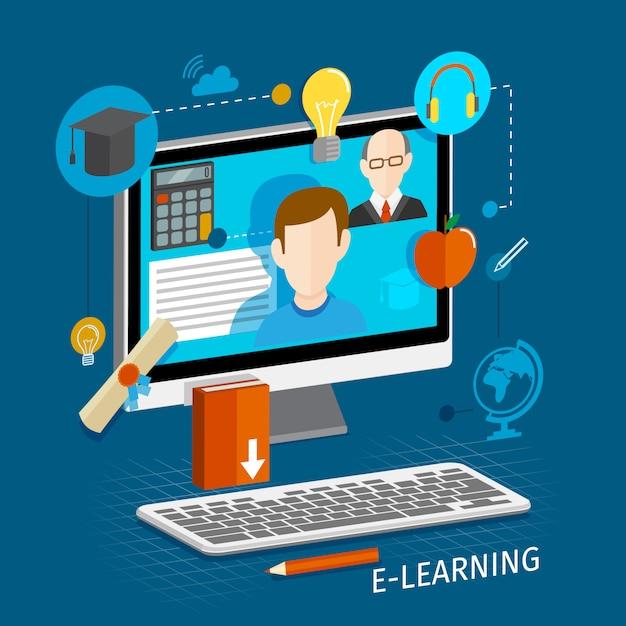 Электронное обучение онлайн плоская иллюстрация Бесплатные векторы