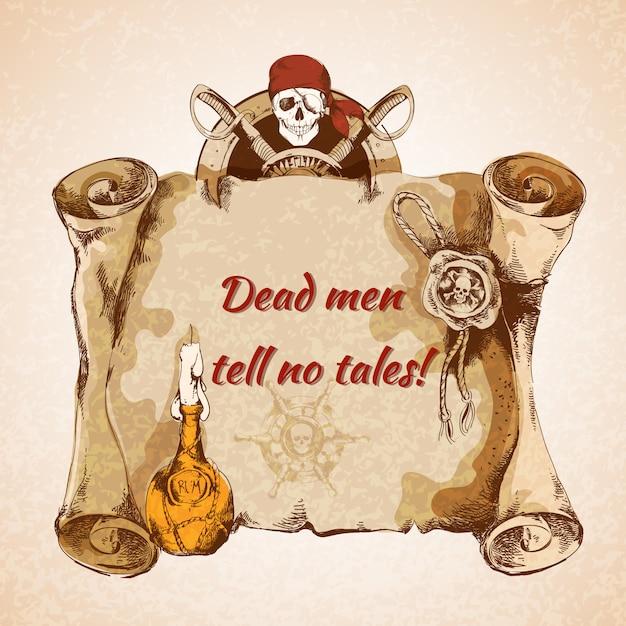 ビンテージ海賊羊皮紙 無料ベクター