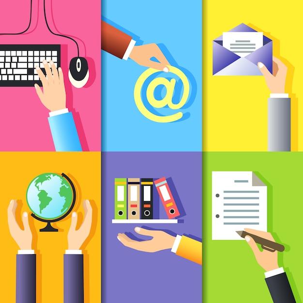 Бизнес жесты руки элементы дизайна компьютерной клавиатуры мыши и знаки, изолированных векторная иллюстрация Бесплатные векторы