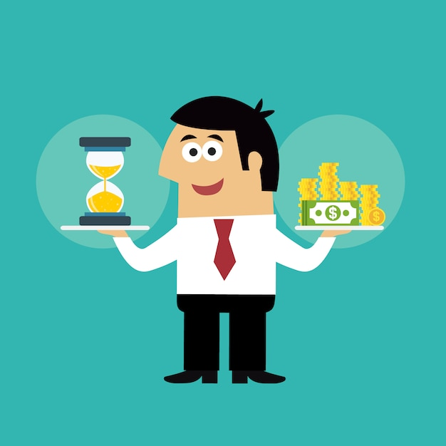 Сотрудник деловой жизни с песочными часами и монетами во времени - векторная иллюстрация понятия денег Бесплатные векторы