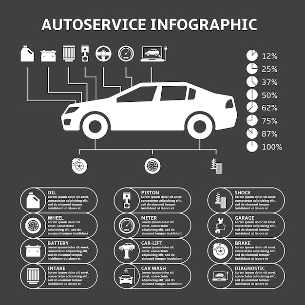 自動車オートサービスインフォグラフィックデザイン要素 無料ベクター