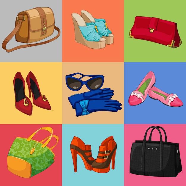 Женская коллекция сумок, обуви и аксессуаров Бесплатные векторы