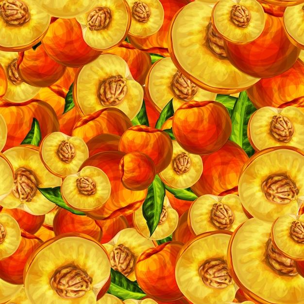 Бесшовные персик фрукты нарезанный узор Бесплатные векторы