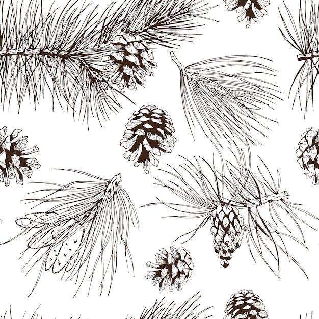 パインモミクリスマスツリー杉トウヒとコーンのシームレスパターンベクトル図 無料ベクター