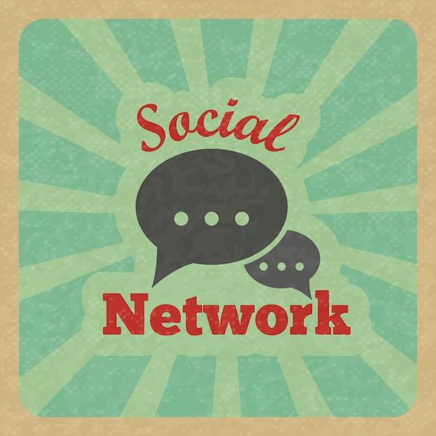 チャットメッセージ音声トークテキストバブル通信ソーシャルネットワークレトロなポスターベクトルイラスト。 無料ベクター