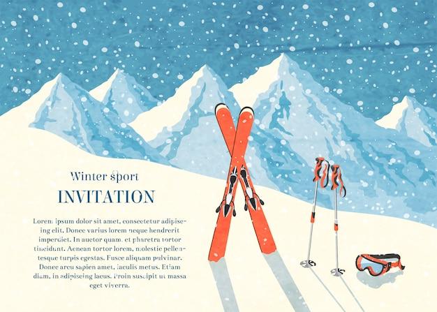 Лыжный зимний горный пейзаж ретро пригласительный билет кадр Бесплатные векторы