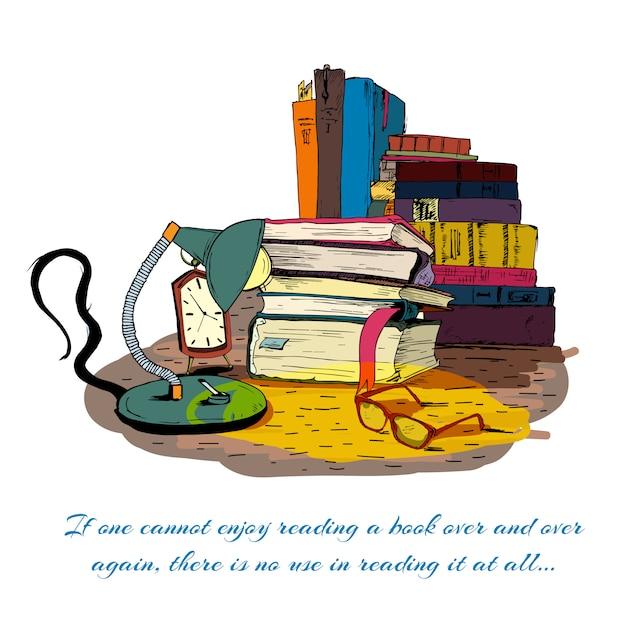 静物を読む本 無料ベクター