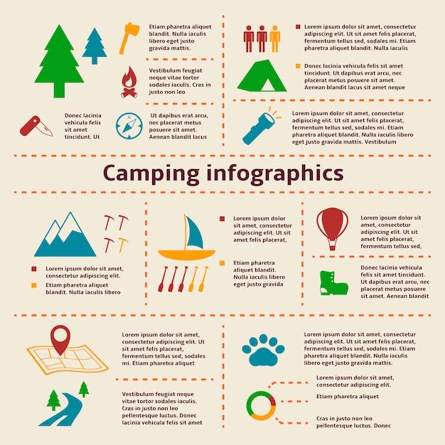 Элементы инфографики для кемпинга и туризма Бесплатные векторы