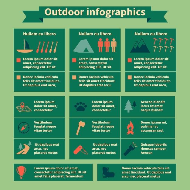 Наружные туристические инфографические элементы Бесплатные векторы