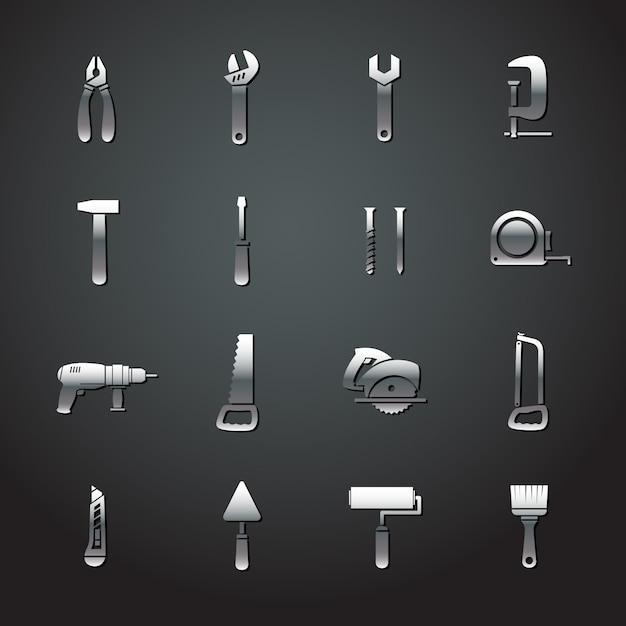 Коллекция металлических стикеров для инструментов Бесплатные векторы