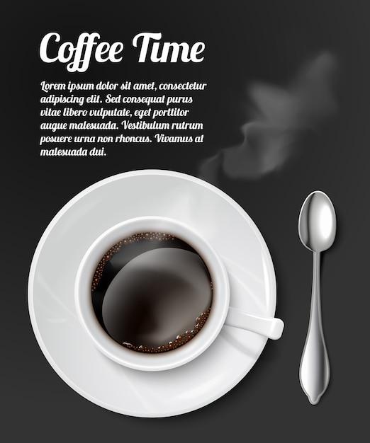 Печать с реалистичной кофейной чашкой Бесплатные векторы