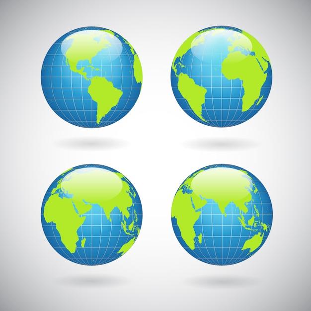 Набор иконок земного шара Бесплатные векторы