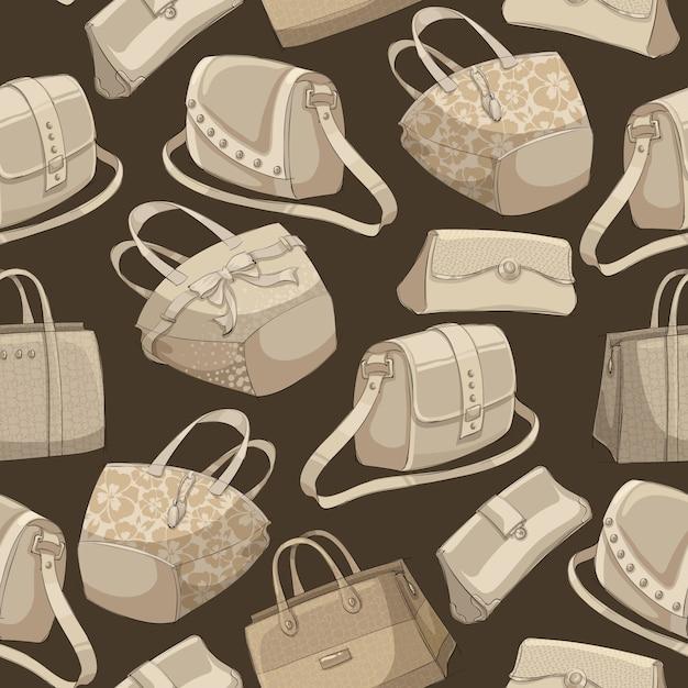 シームレスな女性のスタイリッシュなバッグのレトロなパターン 無料ベクター