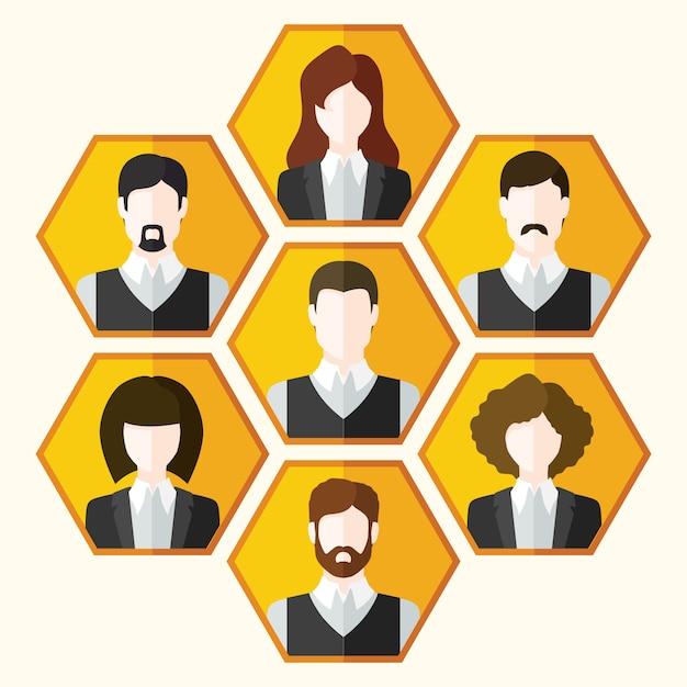 Аватар иконки набор мужских и женских персонажей Бесплатные векторы