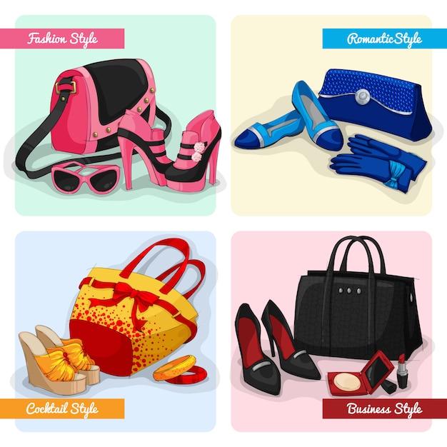 女性のバッグ、靴、アクセサリーのセット 無料ベクター