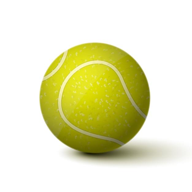 Реалистичная теннисный мяч значок, изолированных Бесплатные векторы
