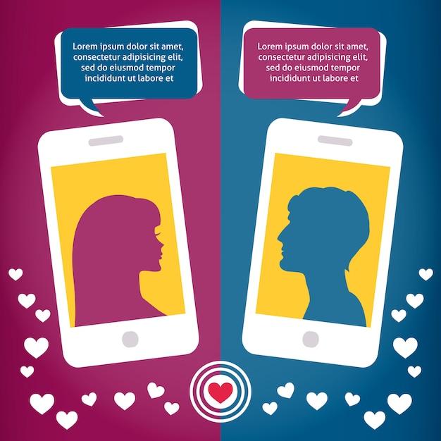 携帯電話を使用して話しているカップル仮想愛 無料ベクター