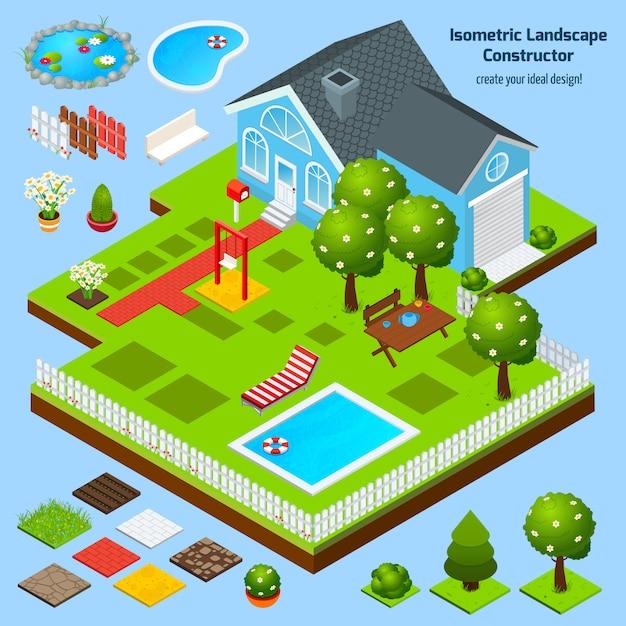 Ландшафтный дизайн изометрические Бесплатные векторы