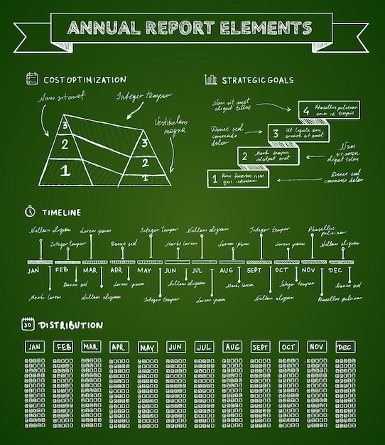 黒板インフォグラフィック要素 無料ベクター