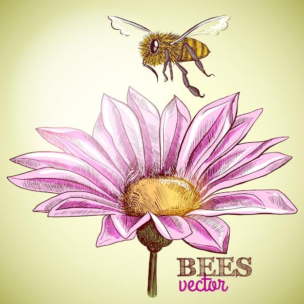 Летающая медоносная пчела и цветущий цветочный фон Бесплатные векторы
