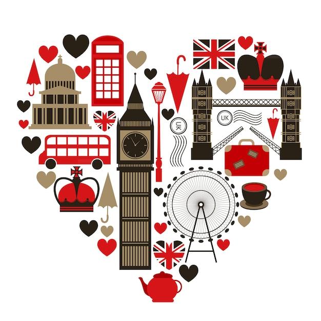 Любовь лондон символ сердца с набором иконок, изолированные Бесплатные векторы