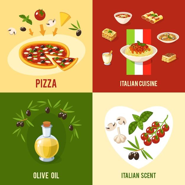 イタリア料理デザインコンセプト 無料ベクター