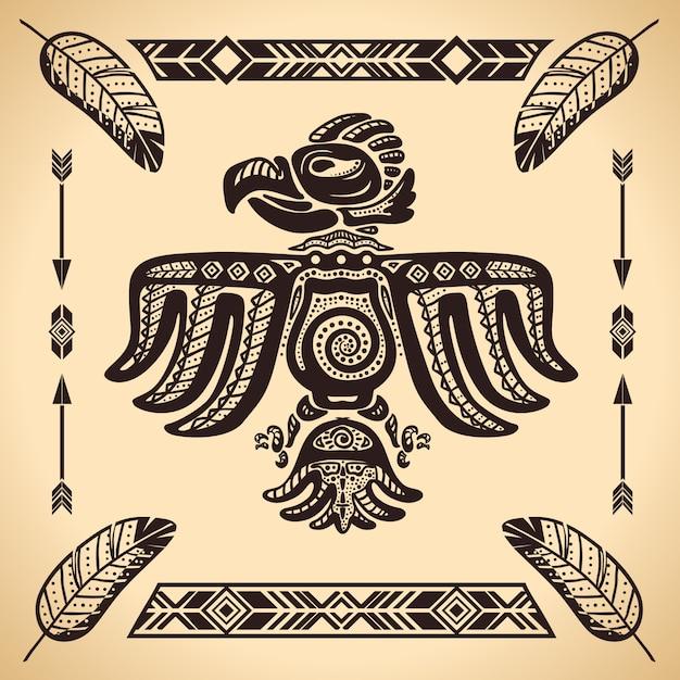 部族アメリカンイーグルサイン 無料ベクター