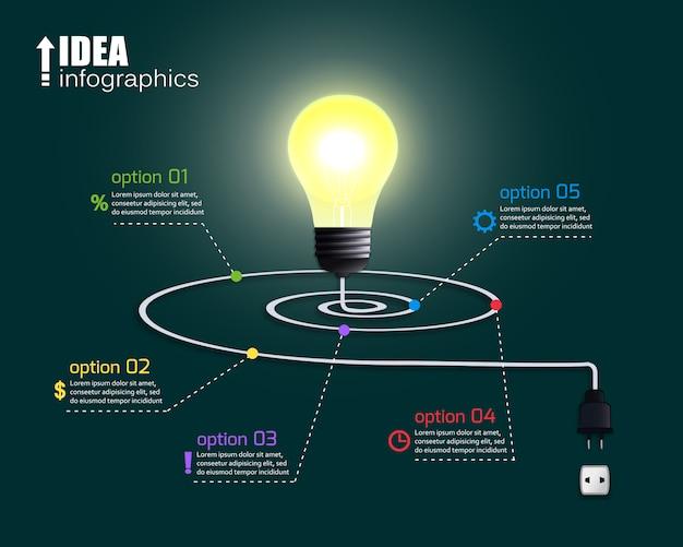 Креативная лампочка с опциями Бесплатные векторы
