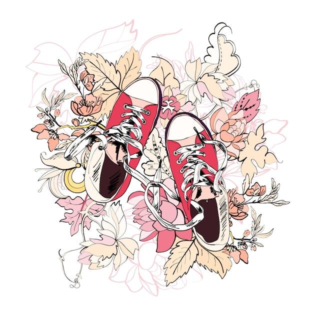 ための半靴スケッチ花 無料ベクター