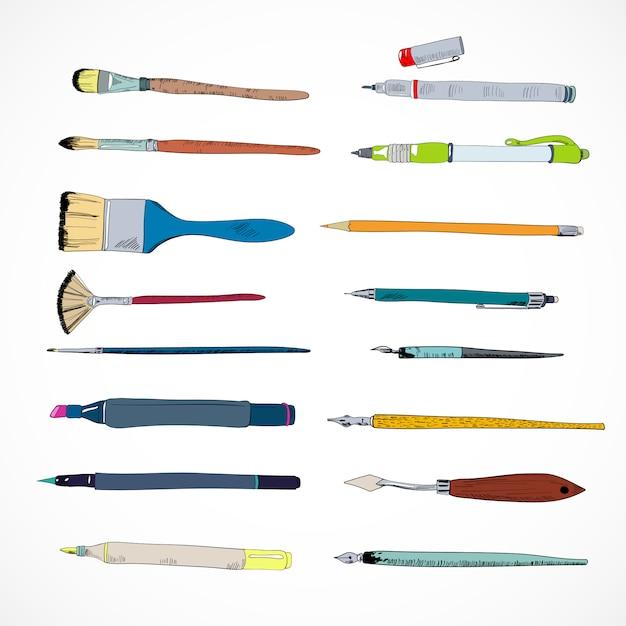 Эскиз иконки инструменты рисования Premium векторы