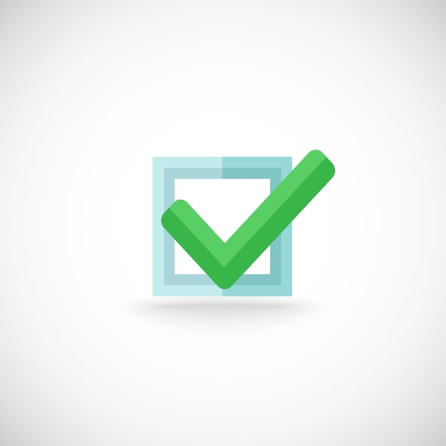 装飾的な青い正方形の輪郭のチェックボックス緑色のチェックマーク承認確認チェックマークインターネットシンボルピクトグラムベクトル図 無料ベクター