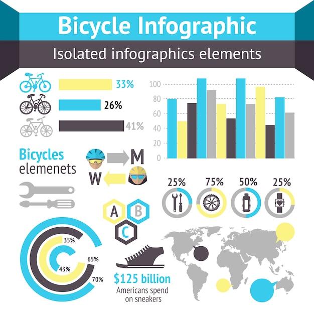 Элементы инфографики велосипедов Бесплатные векторы