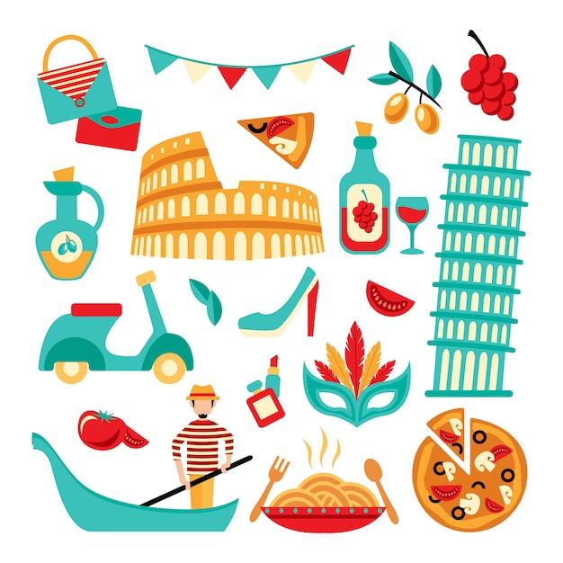 Италия декоративный набор Бесплатные векторы