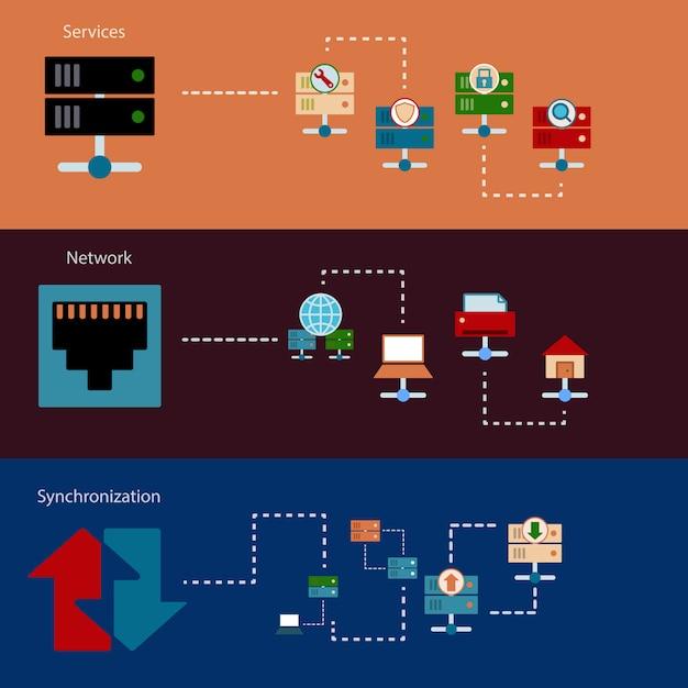 Хостинг серверных баннеров Premium векторы