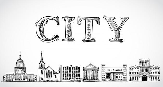 市町の背景 無料ベクター