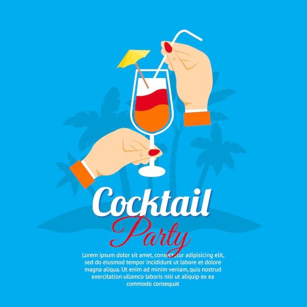 Коктейльная вечеринка постер Premium векторы