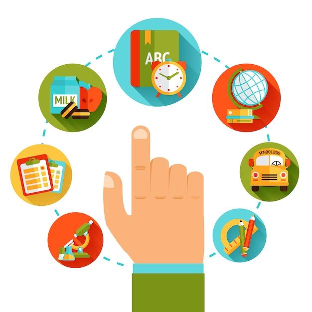 Концепция образования рука Бесплатные векторы