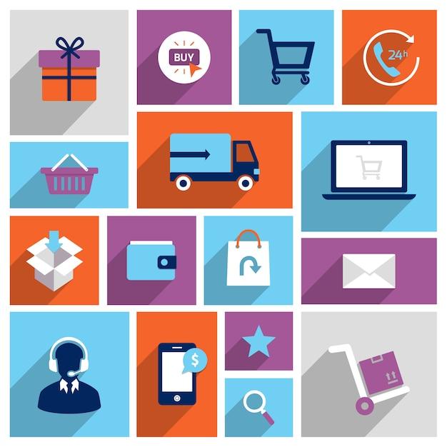 Шоппинг иконки электронной коммерции Premium векторы