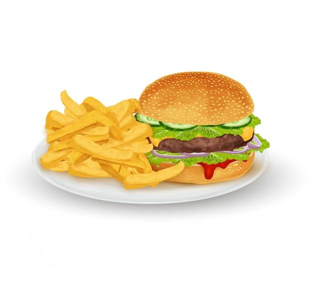 Гамбургер на тарелке Premium векторы