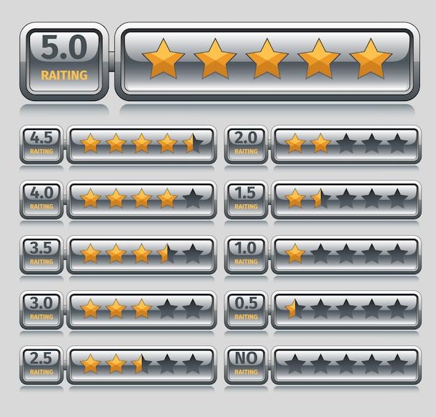 Рейтинг звезд установлен Бесплатные векторы