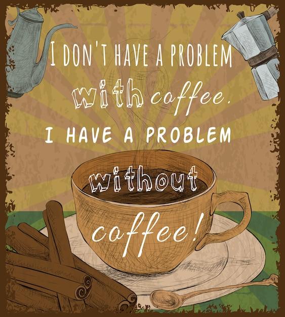 Ретро кофейная чашка постер Бесплатные векторы