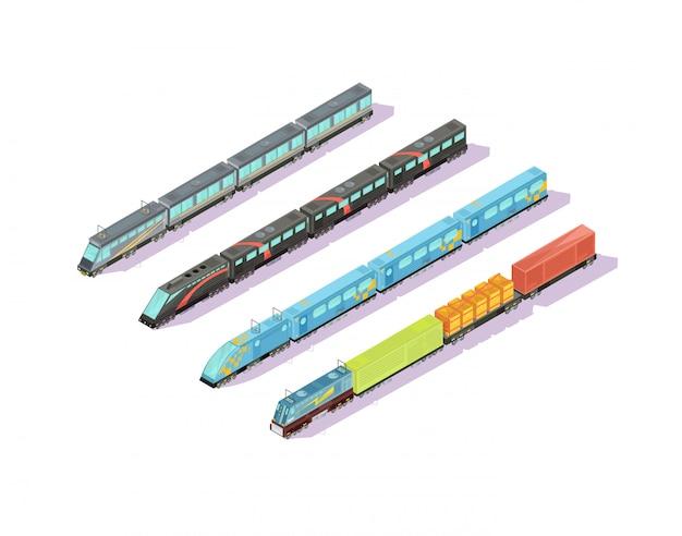 Поезда состав из четырех изолированных изображений изометрических поездов с лакированными вагонами и багажным составом векторная иллюстрация Бесплатные векторы