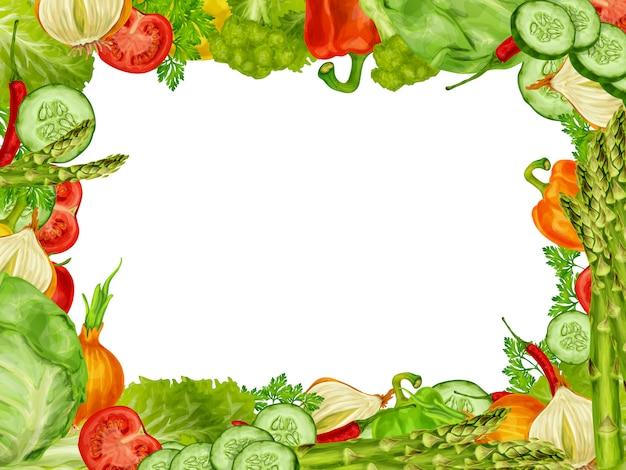 野菜セットフレーム 無料ベクター
