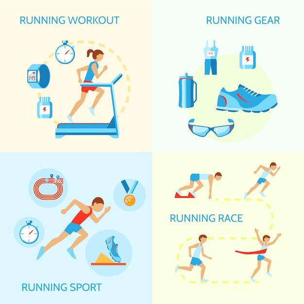 トレーニングギアスポーツレースアイコン分離ベクトル図のジョギング組成を実行しています。 無料ベクター