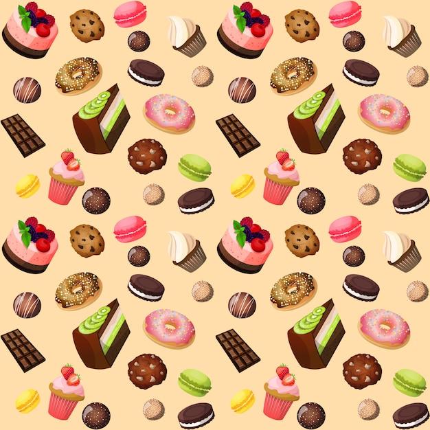 お菓子のシームレスな背景 無料ベクター