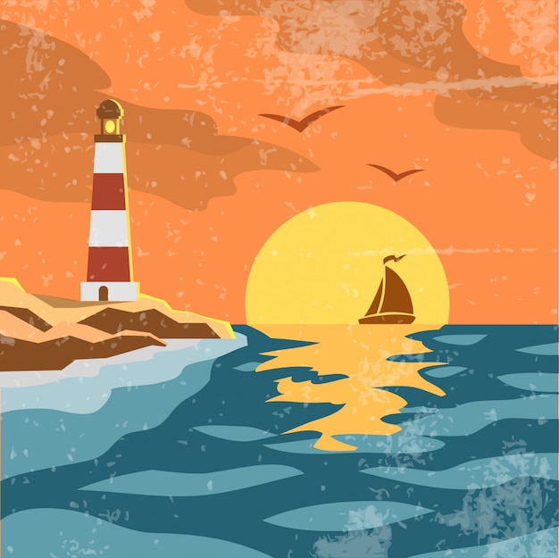 海のレトロなポスター 無料ベクター