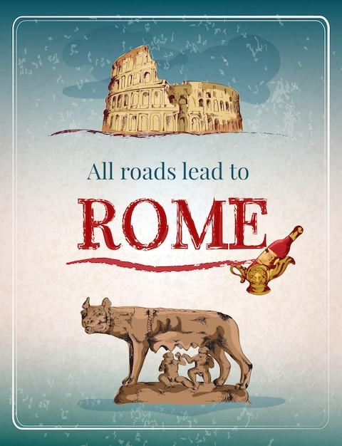 Рим ретро постер Бесплатные векторы